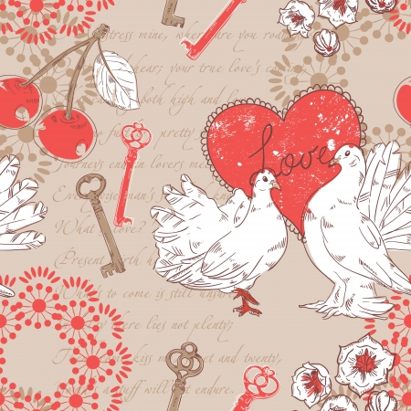 Valentine romantic retro seamless pattern with hearts and doves on a verse italic text background Stock Vector - 16988781