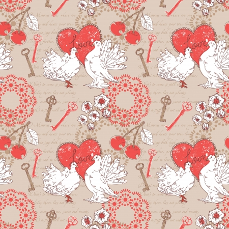 italic: Valentine romantic retro seamless pattern with hearts and doves on a verse italic text background