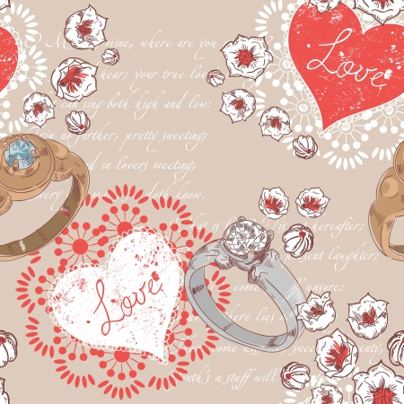 Valentine romantic retro seamless pattern with wedding rings and hearts on a verse italic text background Vector