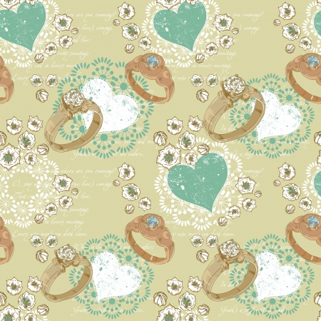 italic: Valentine romantic retro seamless pattern with wedding rings and hearts on a verse italic text background Illustration