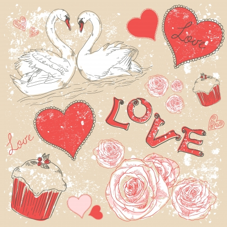 Valentine romantic retro postcard with hearts and swans on a grunge background Stock Vector - 16988789