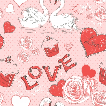 Valentine romantic retro seamless pattern with hearts and swans on a grunge background Vector