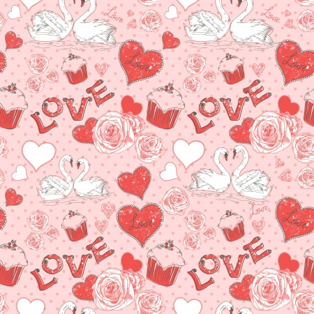 Valentine romantic retro seamless pattern with hearts and swans on a grunge background Stock Vector - 16988786