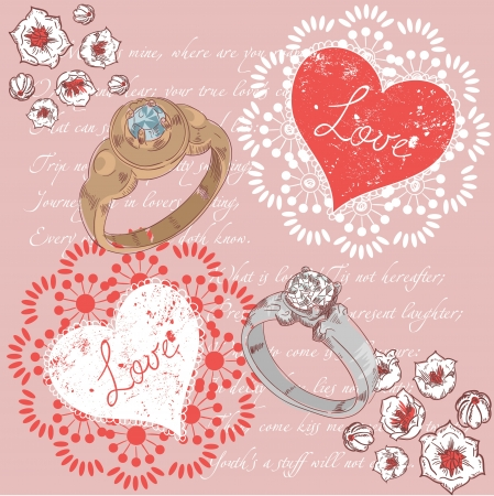 Valentine romantic retro greeting postcard with wedding rings and hearts on a verse italic text background Vector