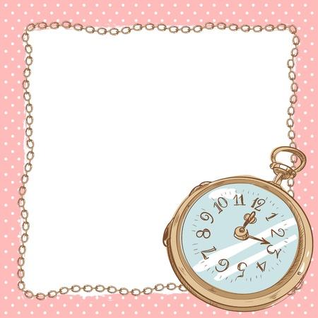 cartoon frame: Bella cartolina romantica con orologio da tasca antico con bordo catena vintage con uno spazio vuoto per il testo su uno sfondo a pois