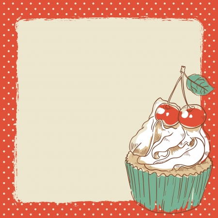 Lovely romantic postcard with delicious sweet cupcake with a cherry on top with blank space for text Vector