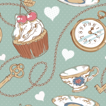 hand and key: Romantic love vintage pattern with hearts, cupcake, cup of tea, clock, key and chains on a polka dot background