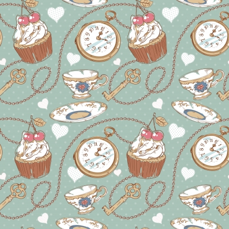 Romantic love vintage pattern with hearts, cupcake, cup of tea, clock, key and chains on a polka dot background
