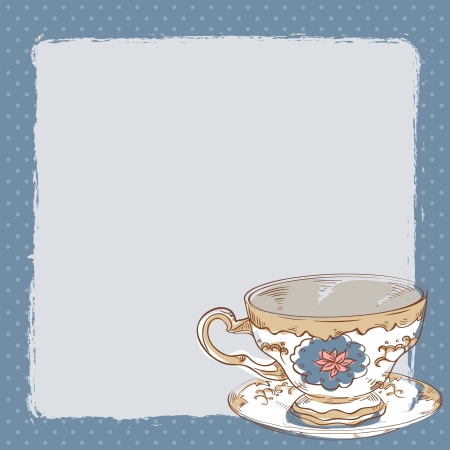 Elegant romantic card with porcelain tea cup and a saucer and empty place for text Vector