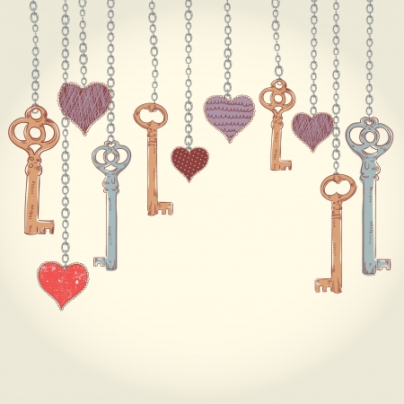 key in chain: Romantic Valentine invitation card with keys and hearts hanging on chains and empty place for text