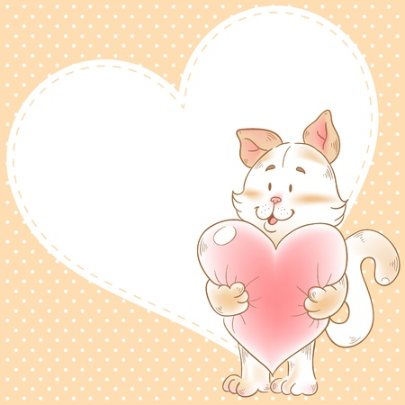 Cute love card with smiling toy cat holding heart on a polka dot background Vector
