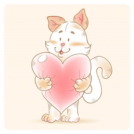 Cute love card with smiling toy cat holding heart isolated Stock Vector - 17292501