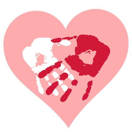 Romantic Valentine postcard with handprints and heart isolated Vector