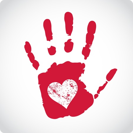 handprints: Romantic Valentine postcard with handprints and heart isolated Illustration