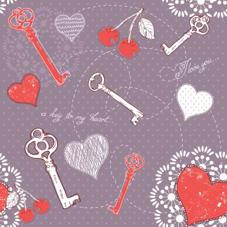 Valentine romantic love seamless pattern with key to heart and I love you text on polka dot background Stock Vector - 17292509