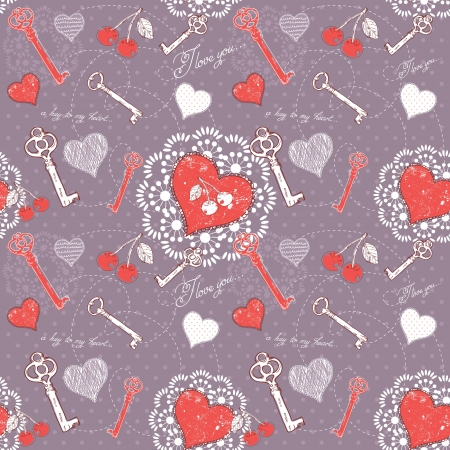 Valentine romantic love seamless pattern with key to heart and I love you text on polka dot background Vector