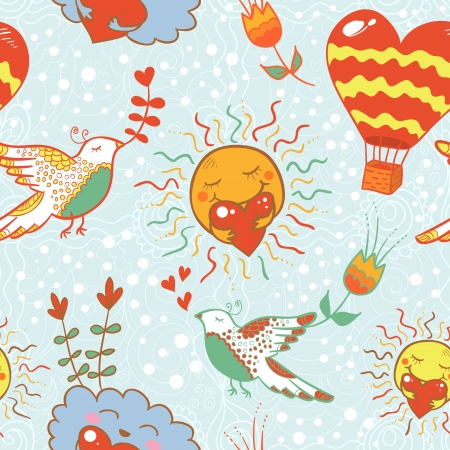 Bright cartoon romantic seamless pattern for nice vintage ornaments Vector