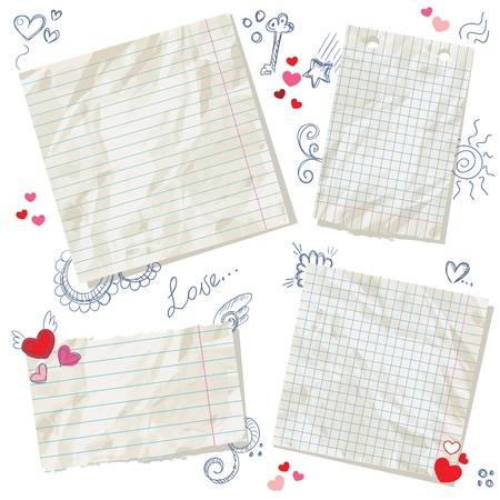 lined: Scraps of paper isolated with hearts and hand drawn ink doodles