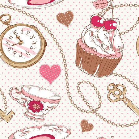 cupcake illustration: Romantic love vintage pattern with hearts, cupcake, cup of tea, clock, key and chains on a polka dot background