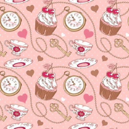 ロマンチックな愛の心、カップケーキ、お茶、時計、キーや水玉バック グラウンド鎖のビンテージ パターン