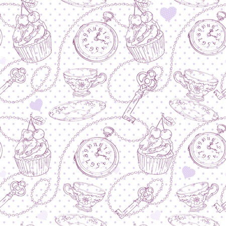 Romantic love vintage pattern with hearts, cupcake, cup of tea, clock, key and chains on a polka dot background Stock Vector - 17385846