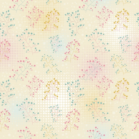 Floral seamless retro pattern with hand drawn flowers and dots Stock Vector - 17385839