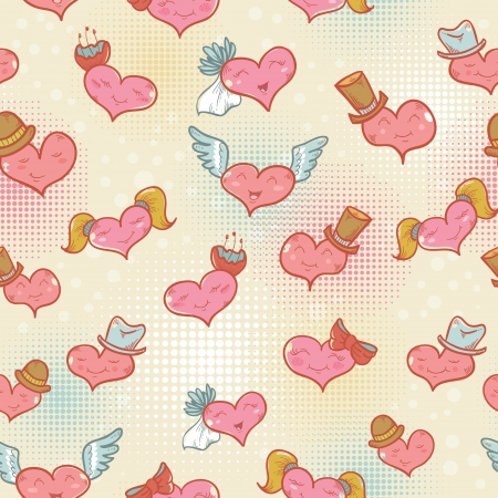 Cute Valentine seamless pattern with smiling hearts with expression on their faces Vector