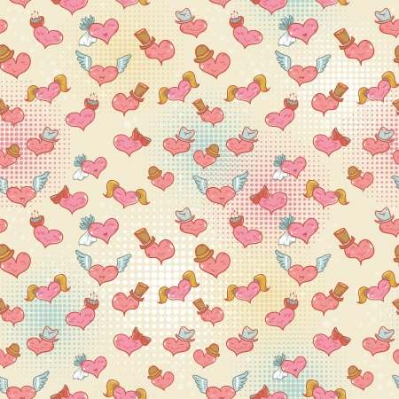 Cute Valentine seamless pattern with smiling hearts with expression on their faces Stock Vector - 17385845