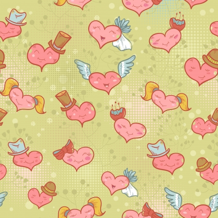 Cute Valentine seamless pattern with smiling hearts with expression on their faces Stock Vector - 17385842