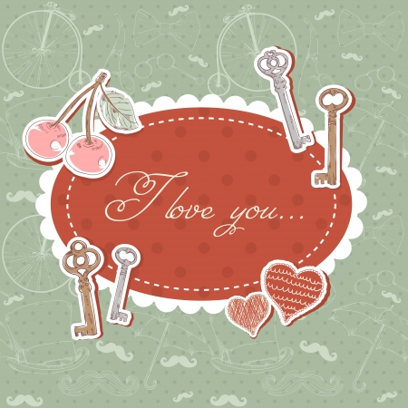 Valentine romantic love card with keys and hearts and text on retro background Stock Vector - 17438006