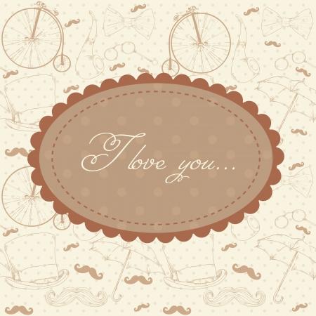 Romantic vintage Valentine invitation postcard Stock Vector - 17437997