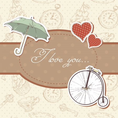 retro styled: Romantic vintage Valentine invitation postcard with hearts,  umbrella  and  bicycle Illustration