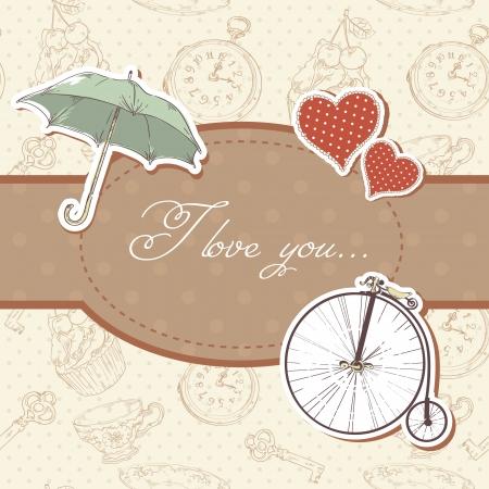 Romantic vintage Valentine invitation postcard with hearts,  umbrella  and  bicycle Stock Vector - 17438007