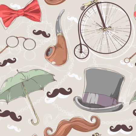 Retro seamless pattern with vintage objects from 1940 1980 years Vector