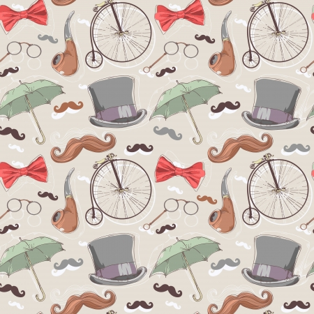 retro glasses: Retro seamless pattern with vintage objects from 1940 1980 years Illustration