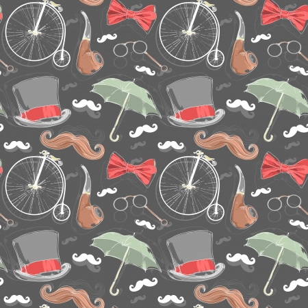 plug hat: Retro seamless pattern with vintage objects from 1940 1980 years Illustration