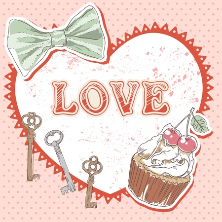Valentine romantic retro card with heart, cupcake, keys and bow on polka dot background Vector
