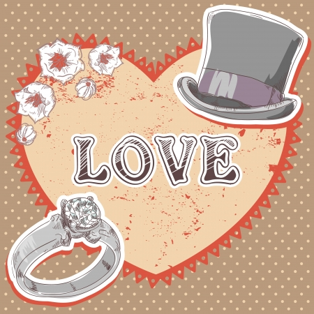 plug hat: Valentine romantic retro card with top hat, wedding ring and flowers on polka dot background Illustration