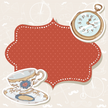 Romantic vintage invitation postcard with polka dot sticker, clock and cup on retro background