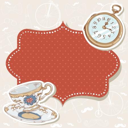 cartoline vittoriane: Romantico cartolina invito dell'annata con polka dot adesivo, orologio e tazza su sfondo retr�