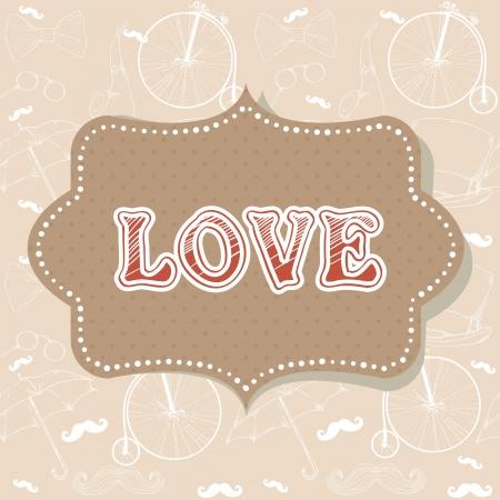 Romantic vintage Valentine invitation postcard Stock Vector - 17438004