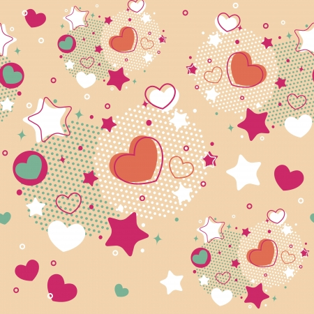 Cute Valentine seamless pattern with hearts, stars and halftone Ilustrace