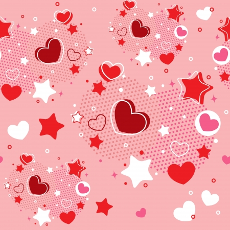Cute Valentine seamless pattern with hearts, stars and halftone Stock Vector - 17438028