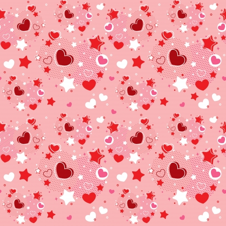 heart clipart: Cute Valentine seamless pattern with hearts, stars and halftone Illustration