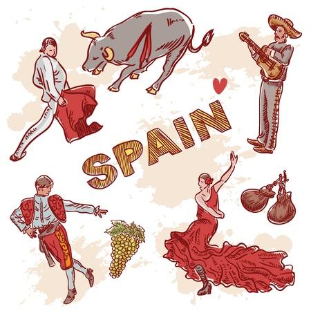 bailarina de flamenco: Conjunto de símbolos tradicionales españoles y clipart para viajar aislado