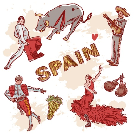 spanish girl: Set of Spanish symbols and traditional clipart for travelling isolated