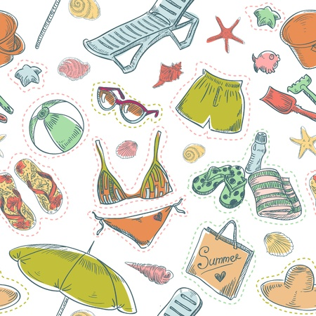 Hand drawn retro summer beach set seamless pattern Vector