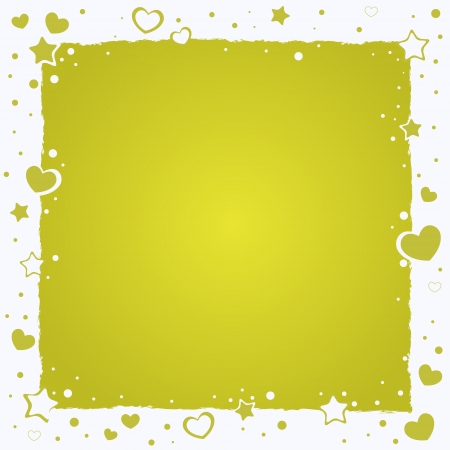 love cute: Valentine love romantic frame with hearts and stars