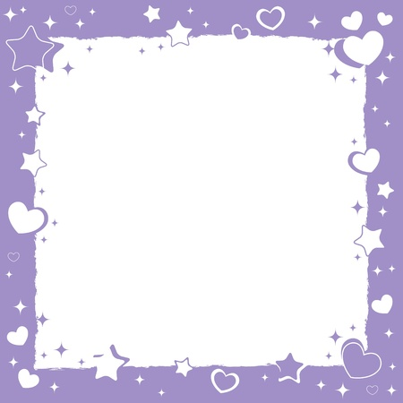 Valentine love romantic frame with hearts and stars Stock Vector - 17438017