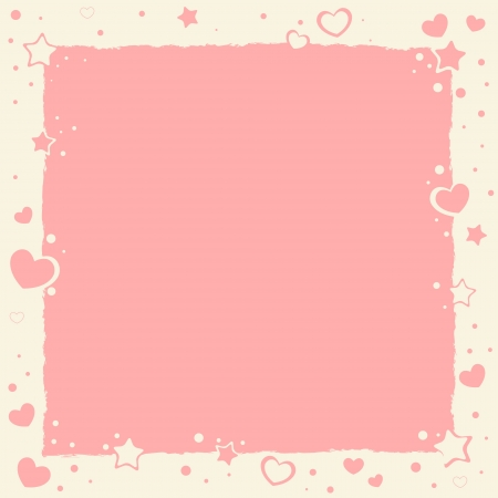 cute border: Valentine love romantic frame with hearts and stars